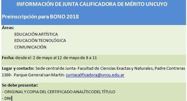 Información de Junta Calificadora de Mérito UNCUYO